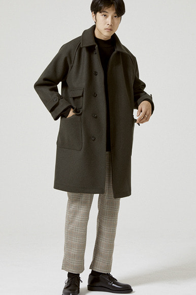 Heavy Hidden Balmacaan Coat [Khaki]
