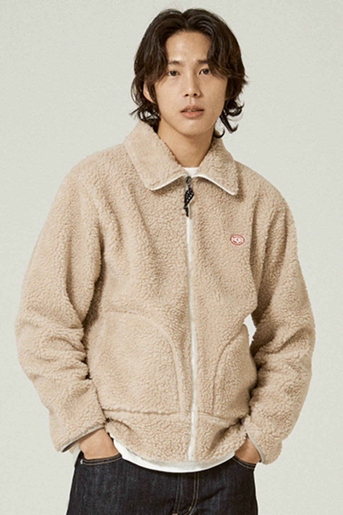 Fleece Zip Up Jacket [Beige]