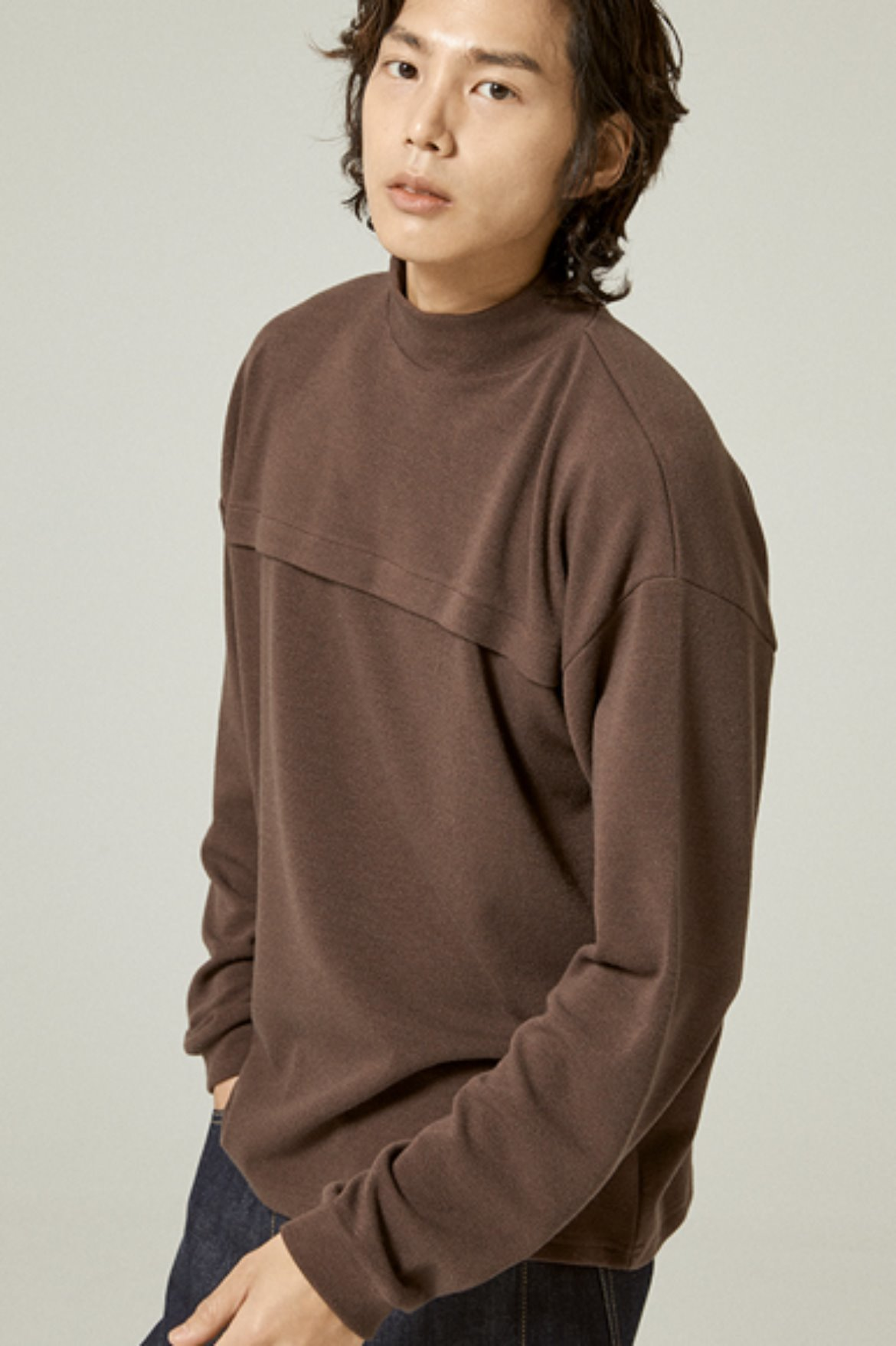 Tencel Mock Neck L/S T-Shirts [Light Brown]