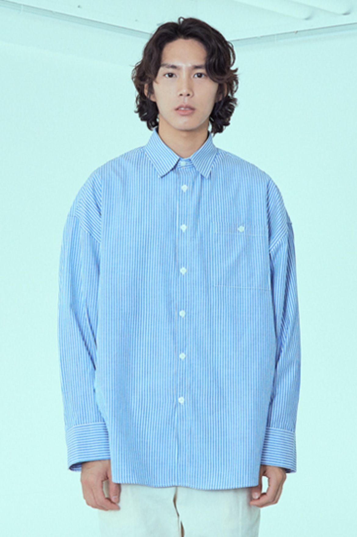 Stripe Drape Long Shirts [Blue]