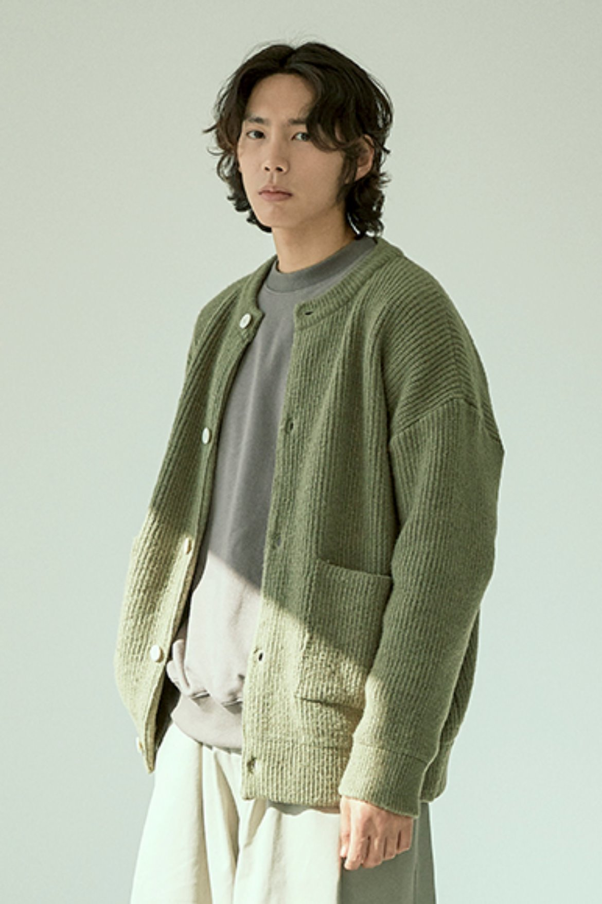 Soft Round Neck Cardigan [Olive]