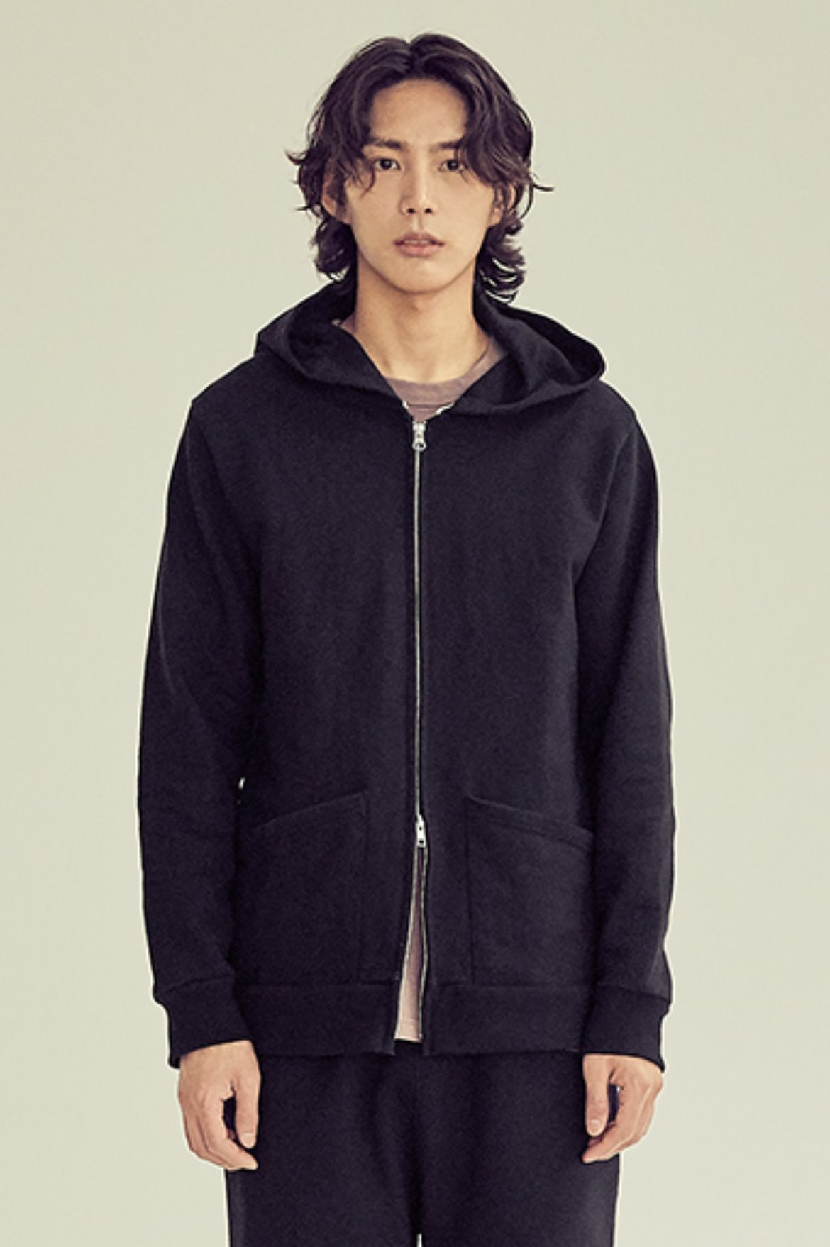 Minimal 2Way Hoodie Zip Up [Black]
