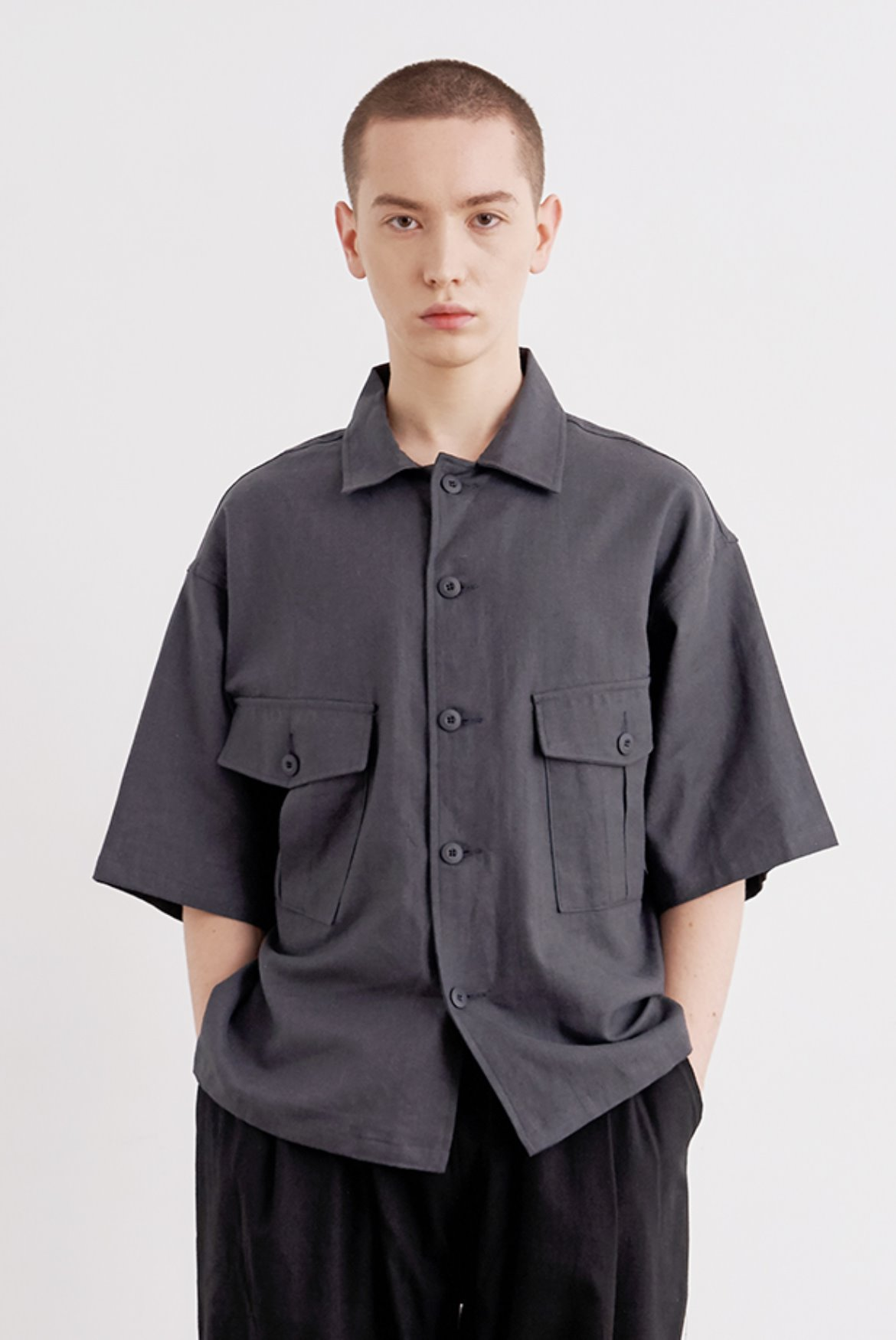 HBT Linen BDU Short Jacket [Charcoal]