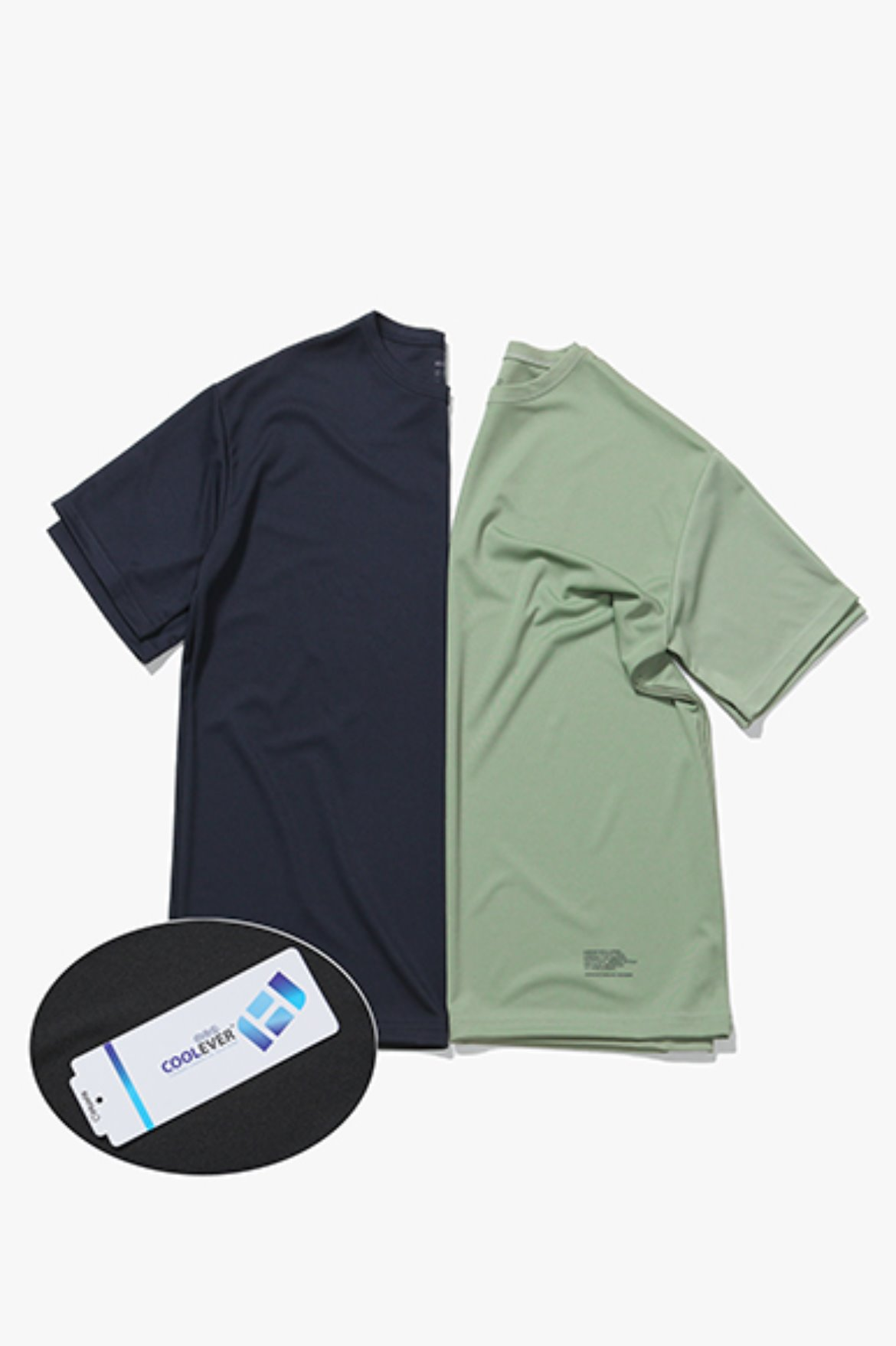 2Pack Coolever Regular Fit T-Shirts [Navy/Mint]