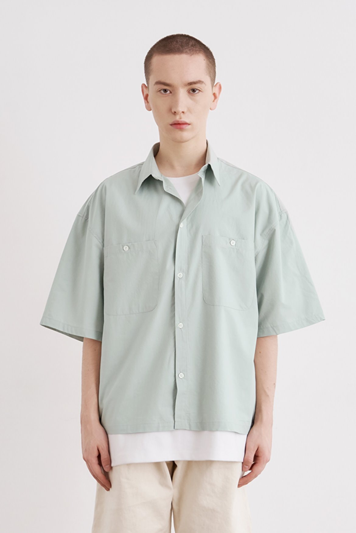 Tencel Crop Shirts [Mint Blue]