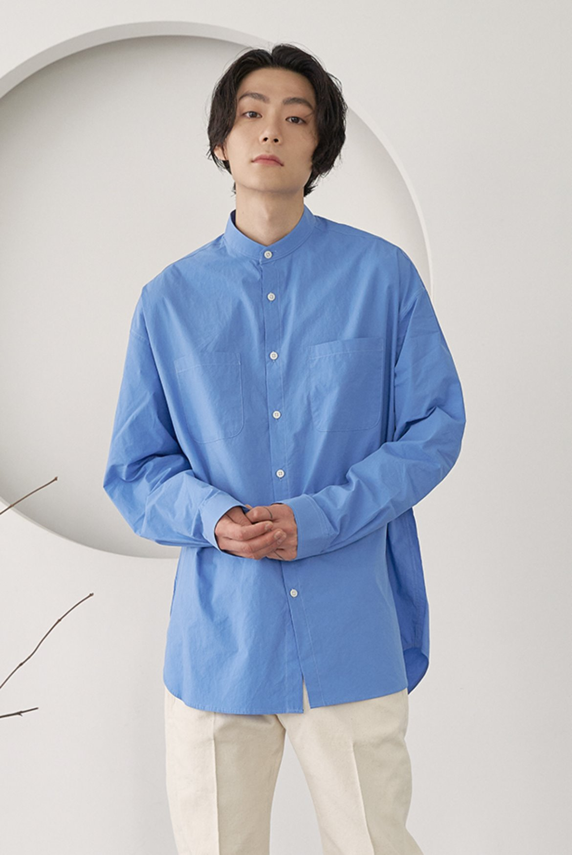 Banded Collar Long Shirts [Sax Blue]