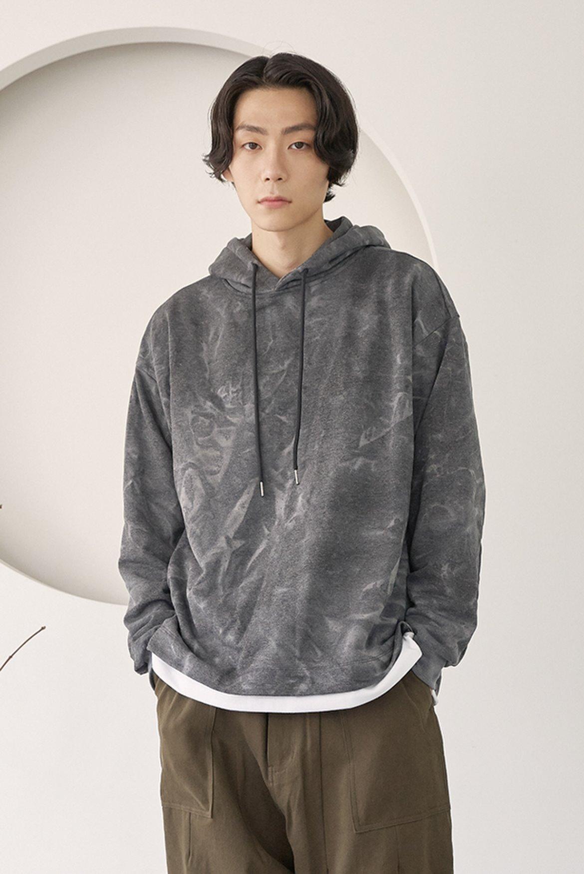 Water Washed Volume Hoodie [Charcoal]