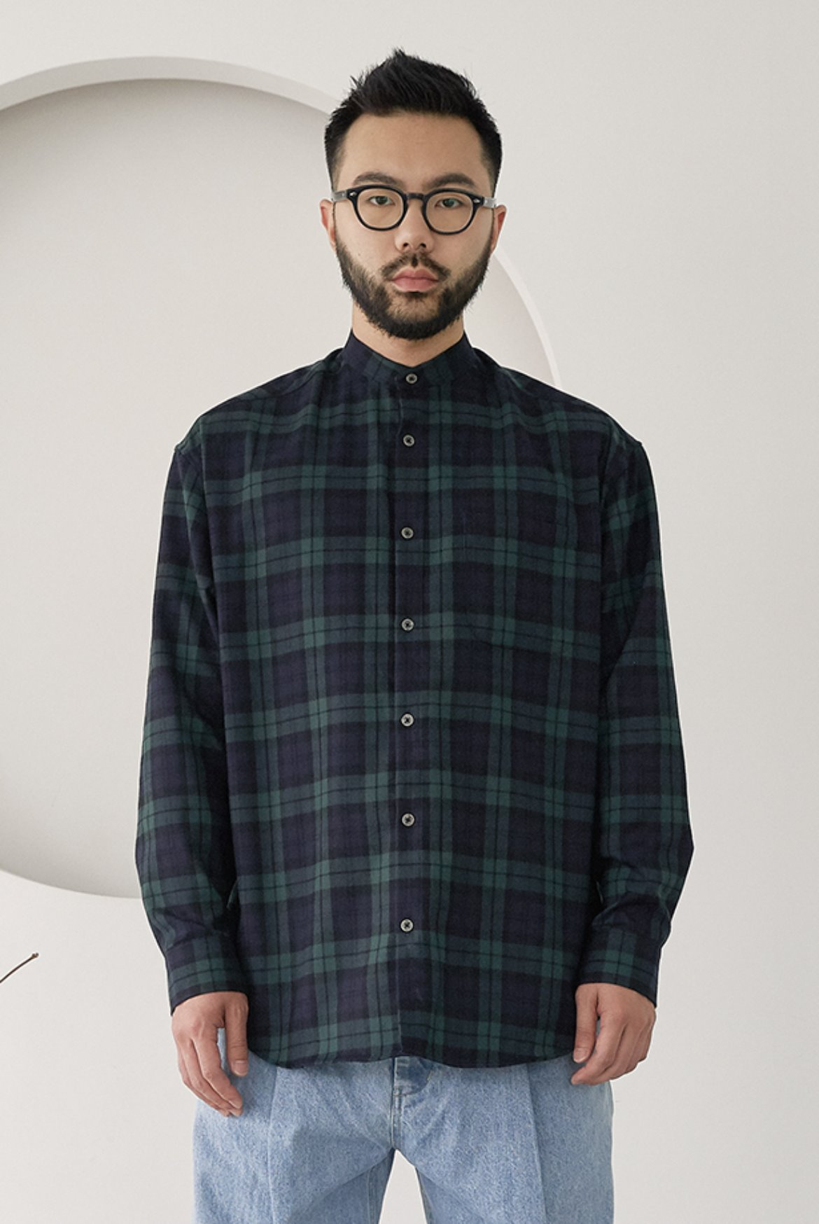 Banded Collar Long Shirts [Black Watch]