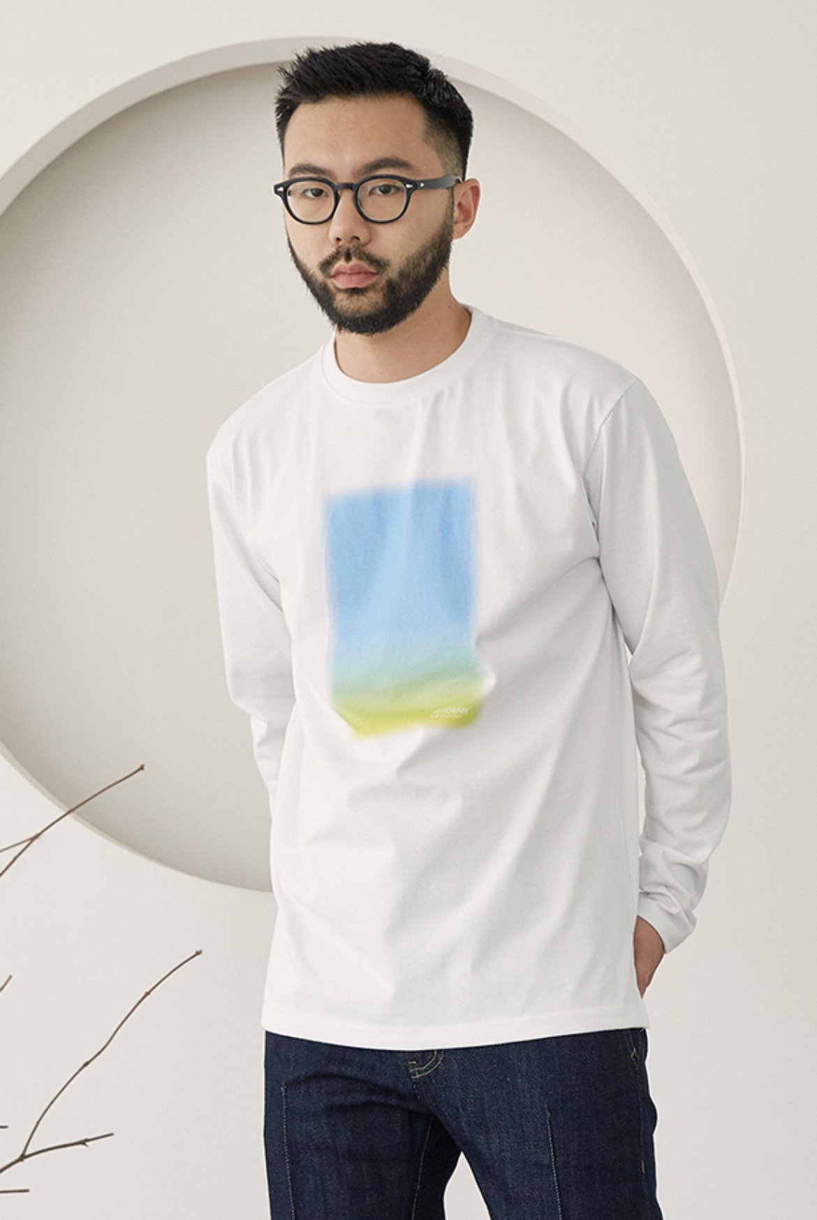 Blurry Print Long Sleeve [Gradation]