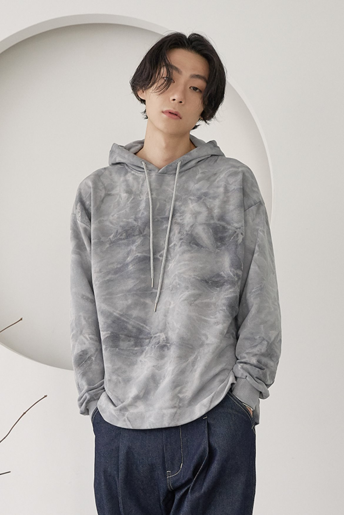 Water Washed Volume Hoodie [Light Grey]