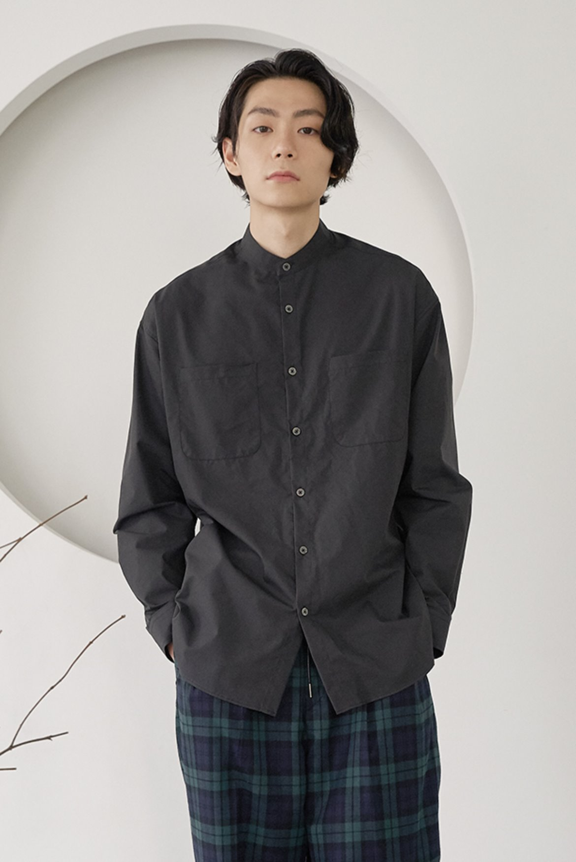 Banded Collar Long Shirts [Charcoal]