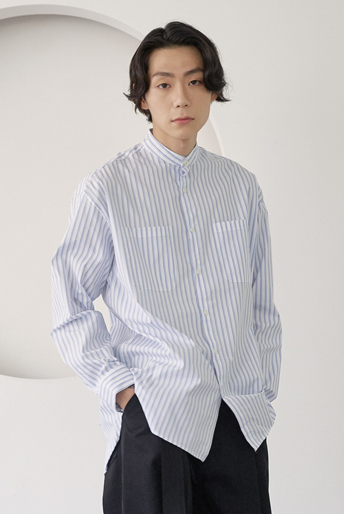 Stripe Banded Collar Long Shirts [White]