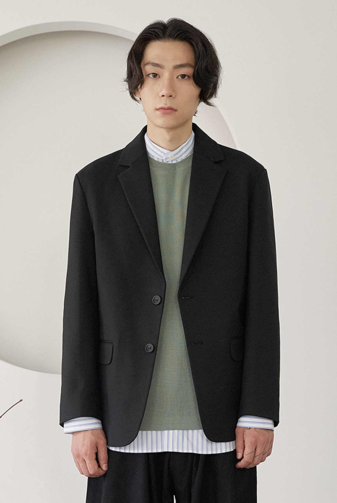 Formal Two Button Jacket [Black]
