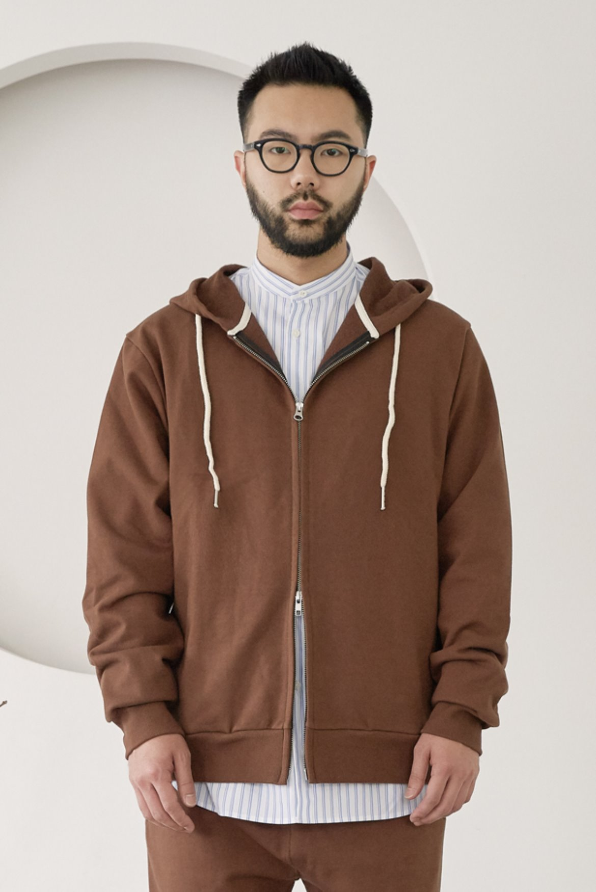 Two Way Side Pocket Hood Zip Up [Brown]