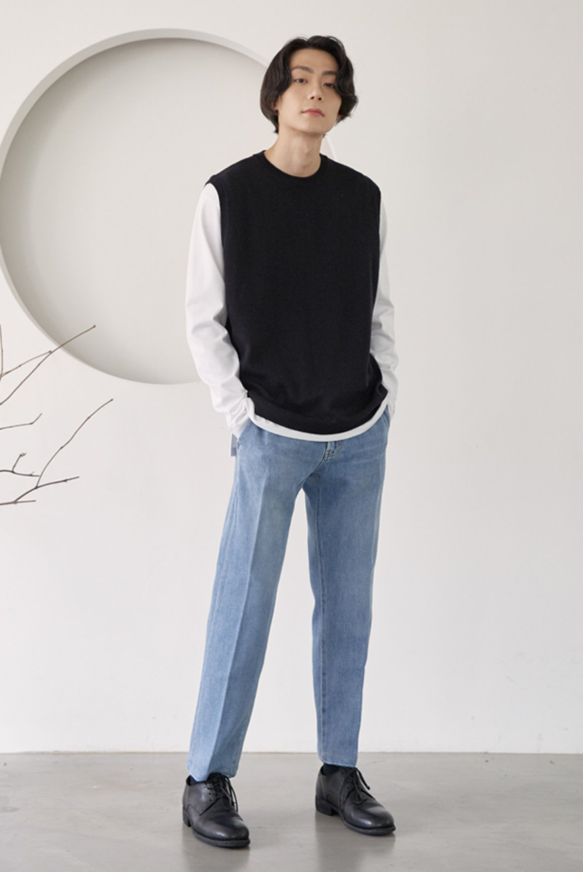 Crease Crop Denim Pants [Light Blue]