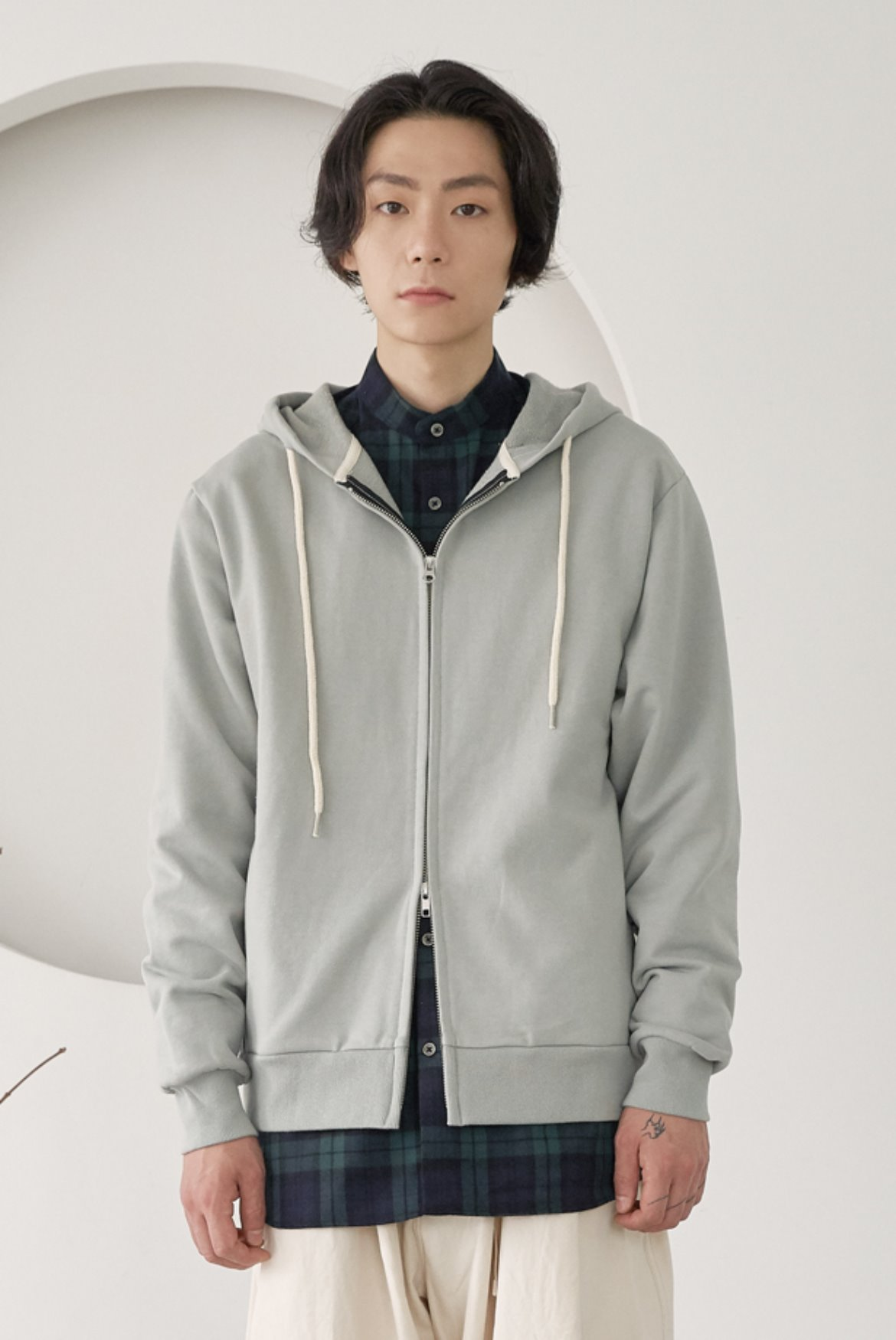 Two Way Side Pocket Hood Zip Up [Mint Grey]