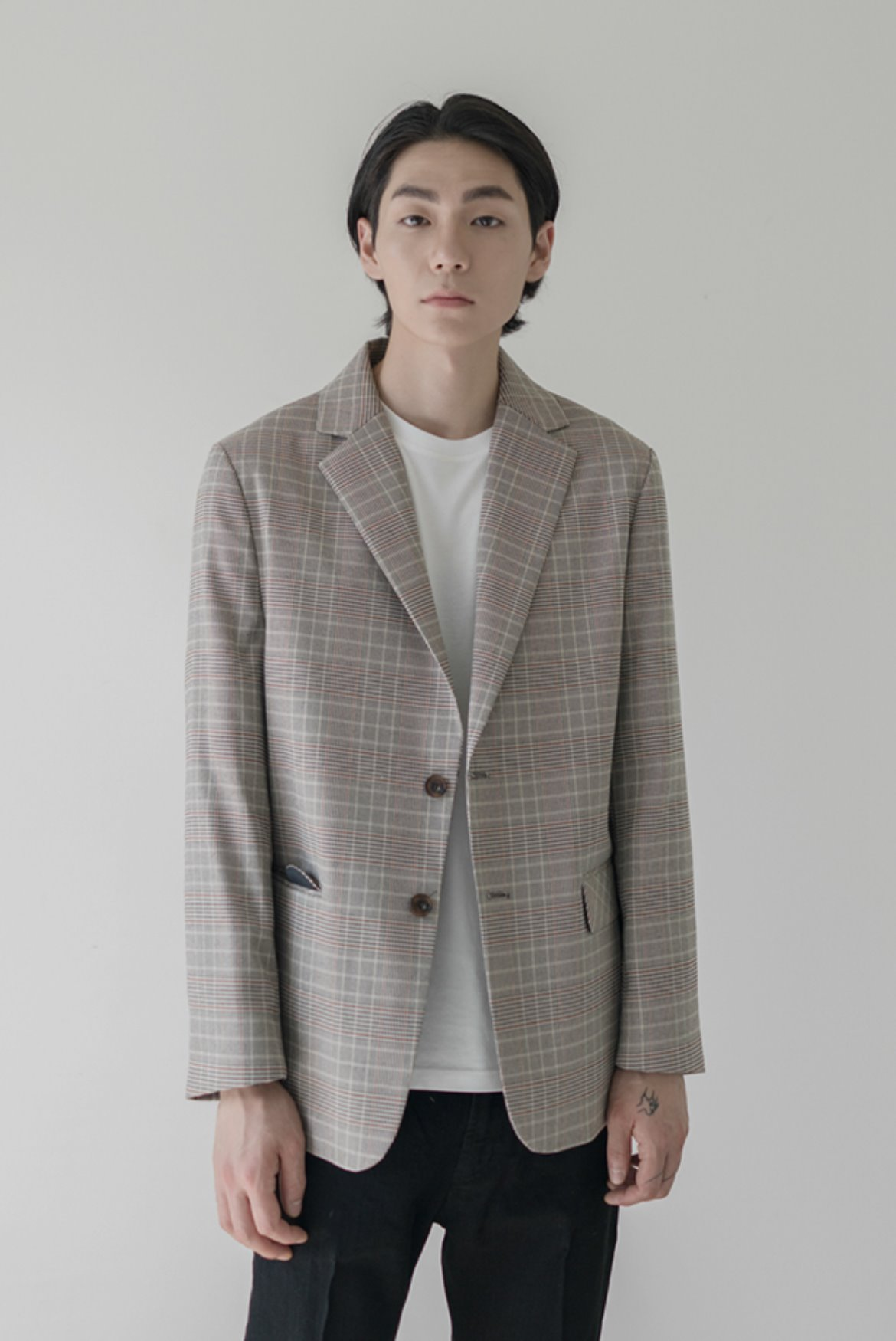 Glen Check Two Button Jacket [Beige]