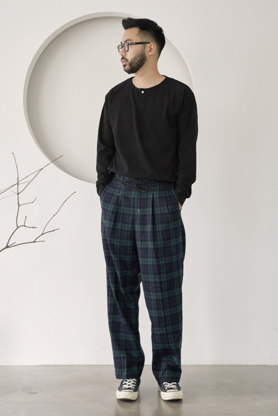 String Wide Slacks Pants [Black Watch]