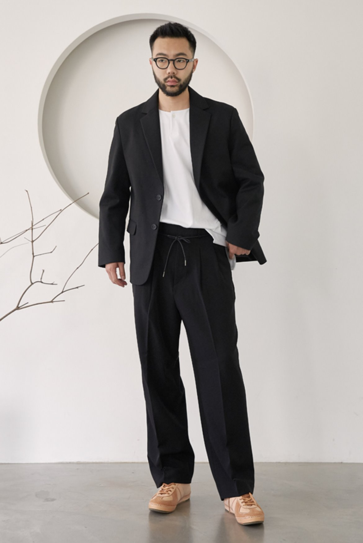 String Wide Slacks Pants [Black]