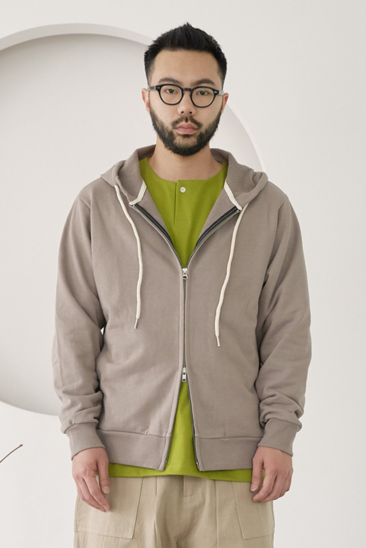 Two Way Side Pocket Hood Zip Up [Boston Khaki]