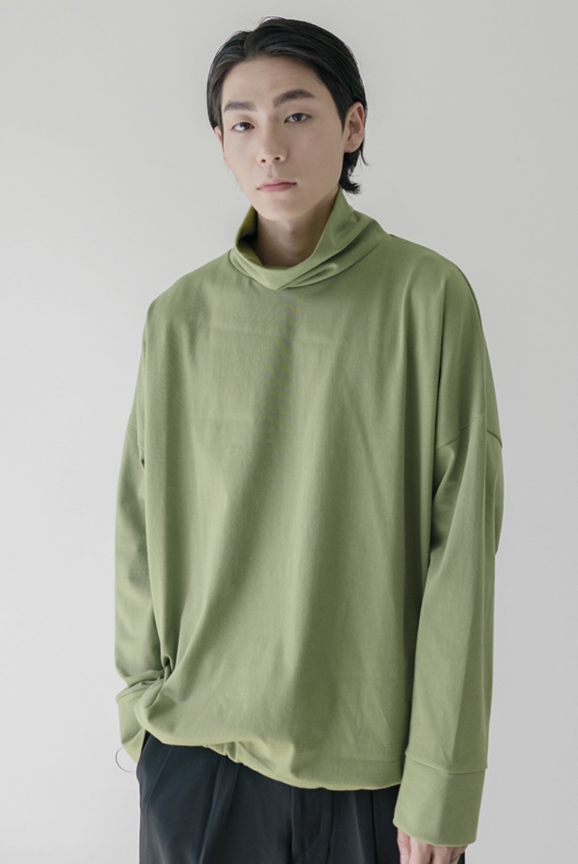 High Neck String L/S T-Shirts [Avocado]