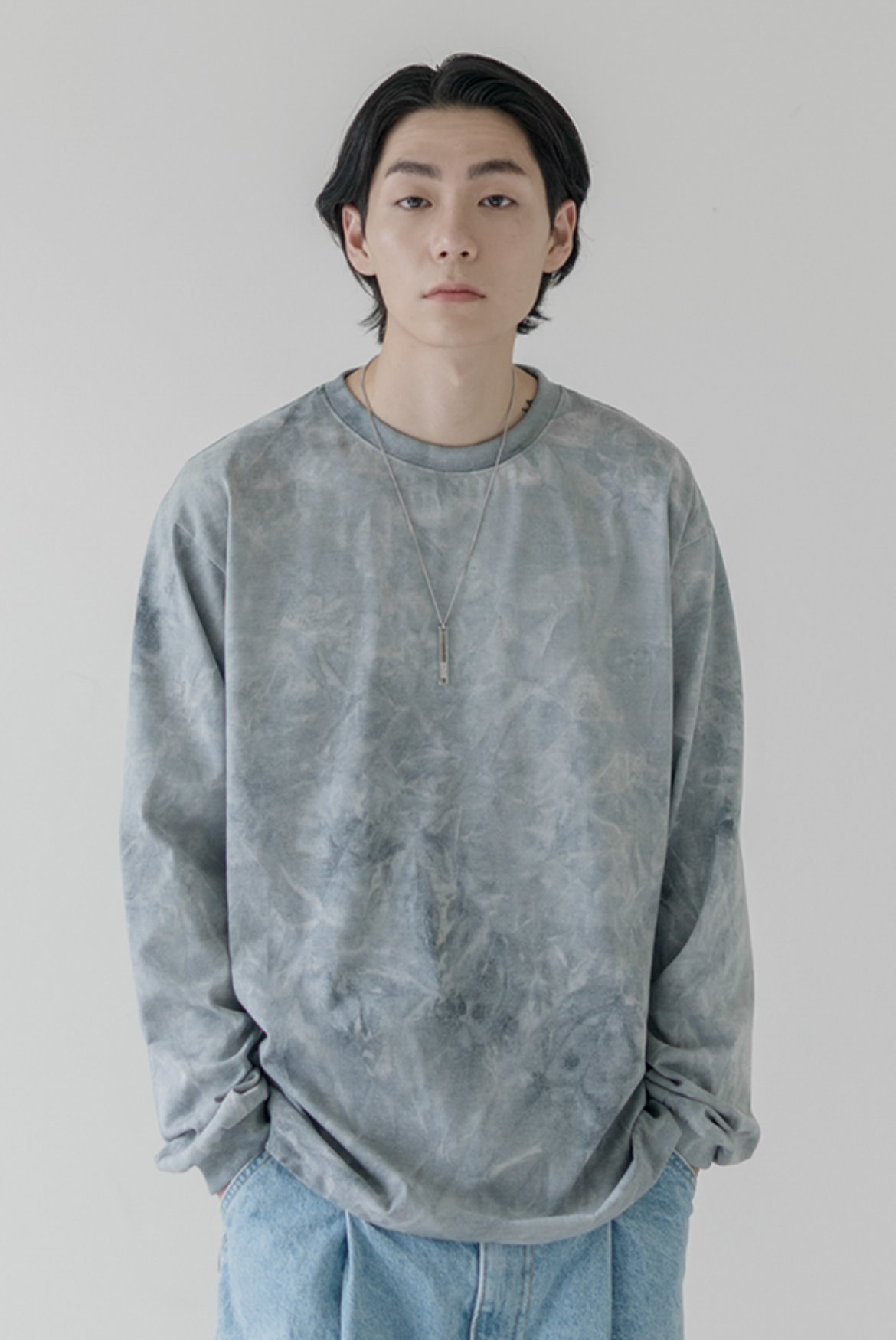 Oversize Water Washed L/S T-Shirts [Grey]