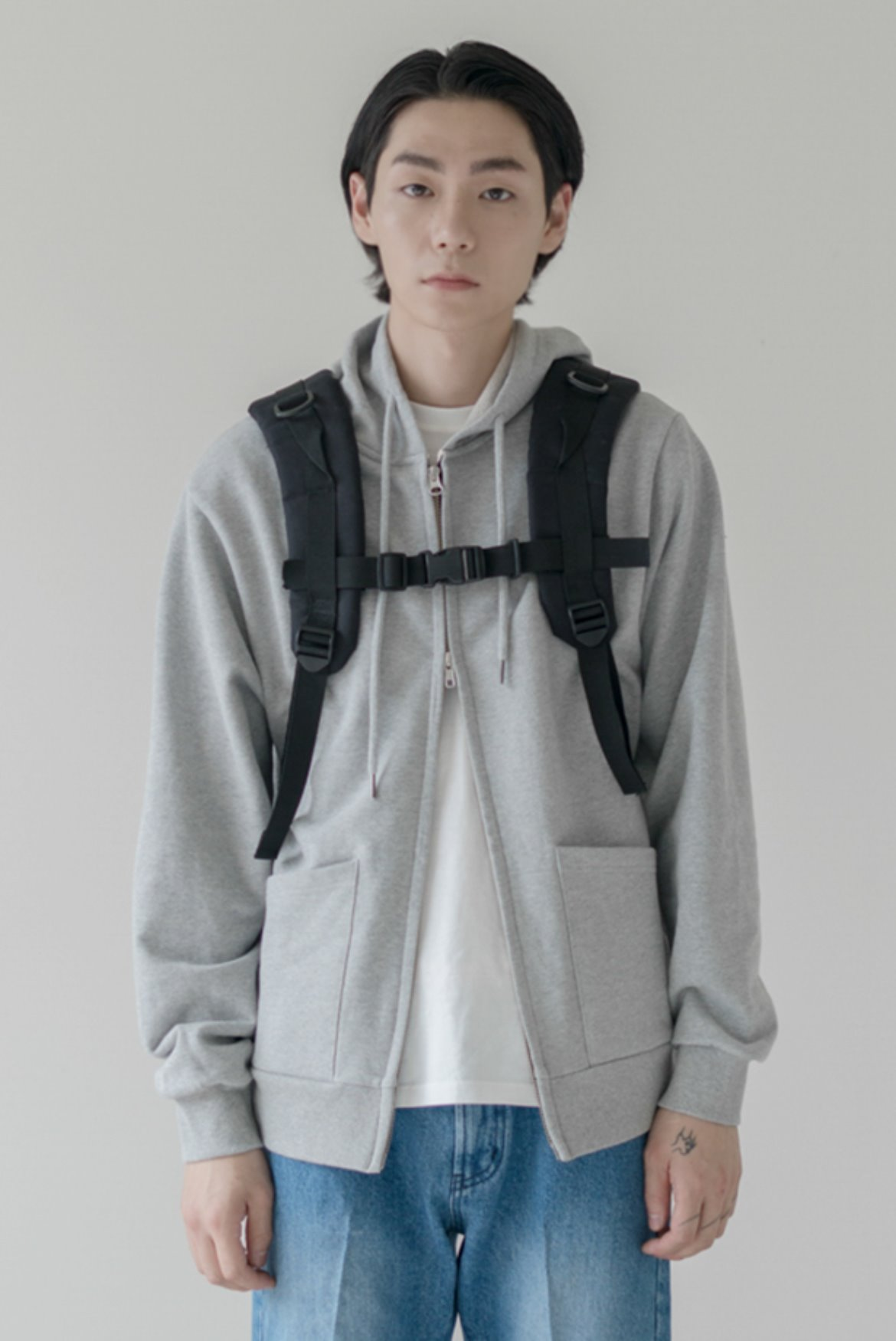 Minimal 2Way Hoodie Zip Up [Grey]