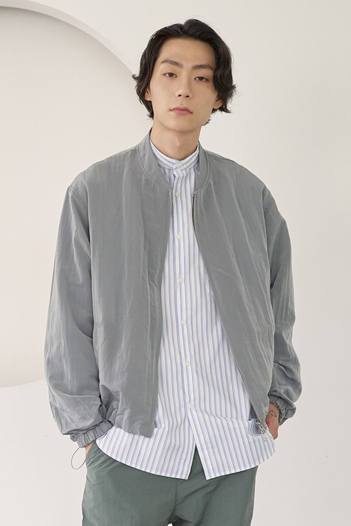 Metal Nylon Blouson Jacket [Grey]