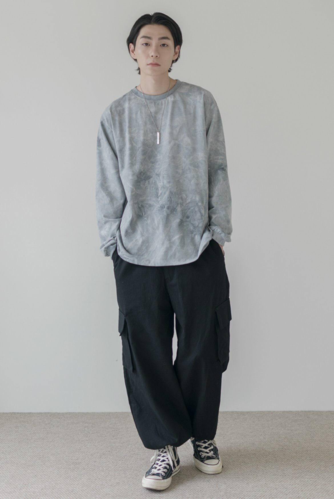 Cargo Wide String Pants [Black]