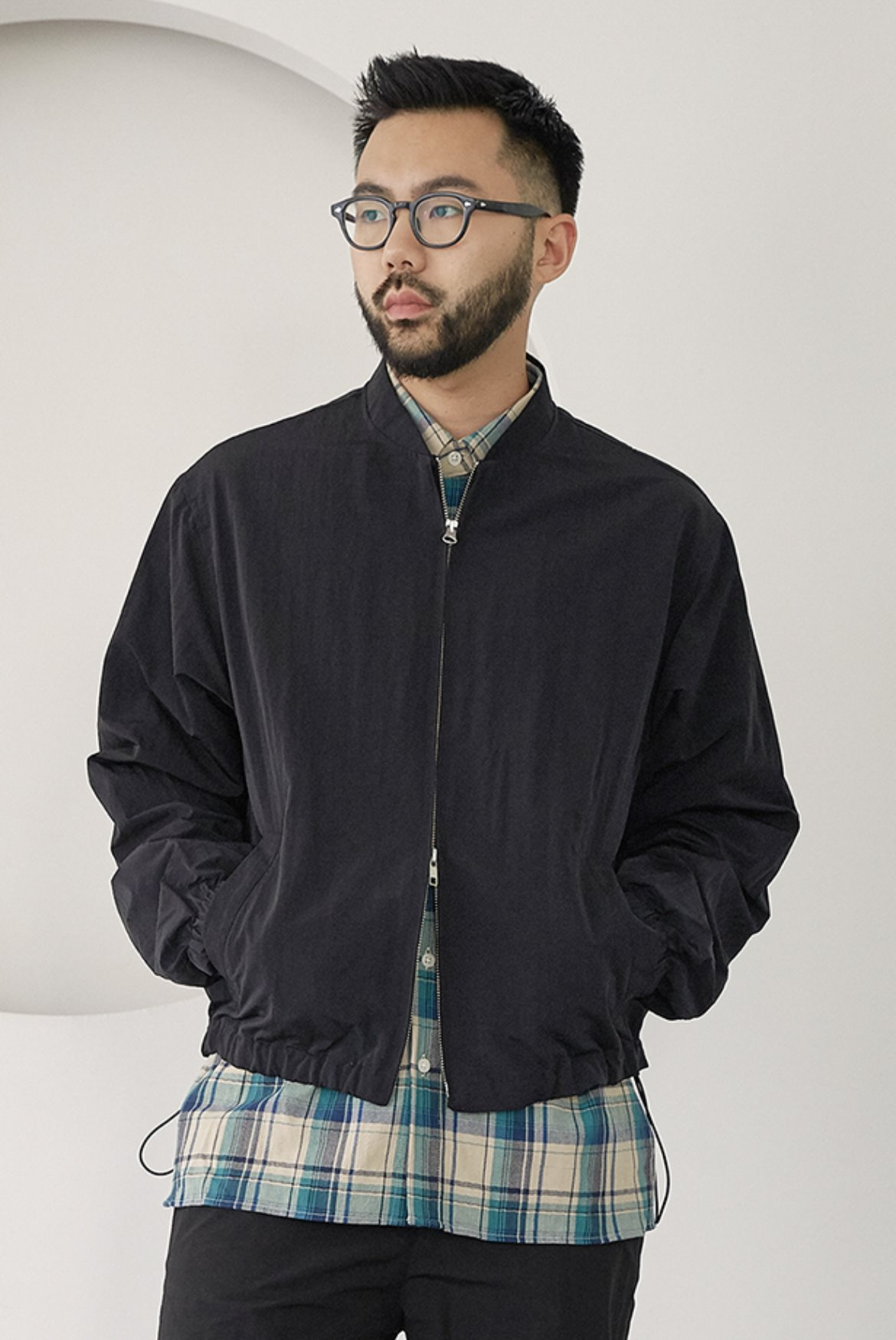 Metal Nylon Blouson Jacket [Black]