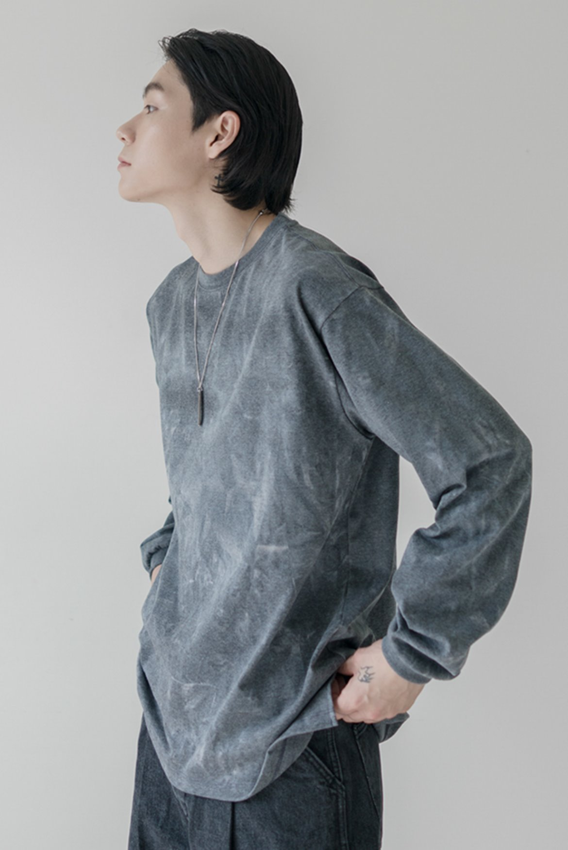 Oversize Water Washed L/S T-Shirts [Charcoal]