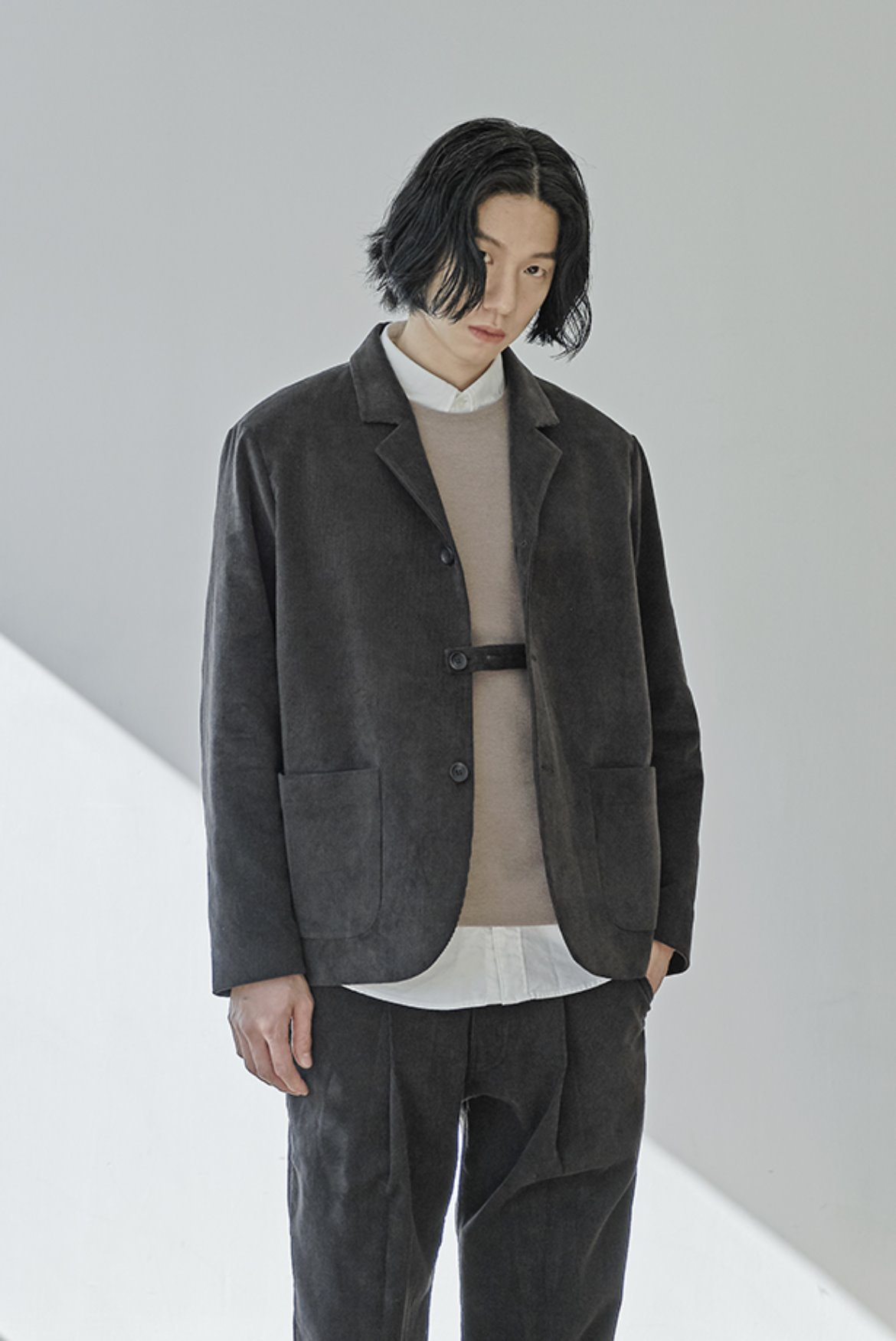Corduroy Three Button Jacket [Espresso]