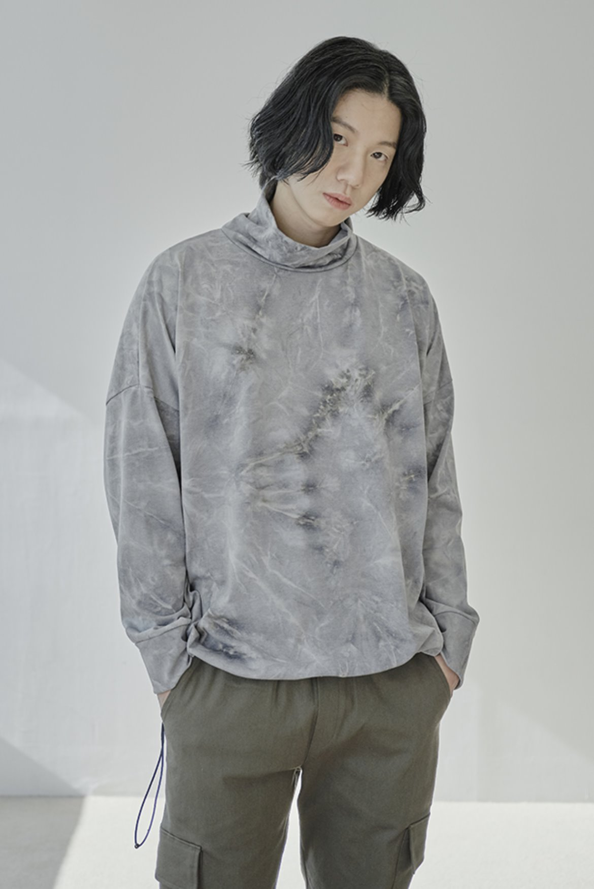 Water Washed High Neck String T-Shirts [Grey]