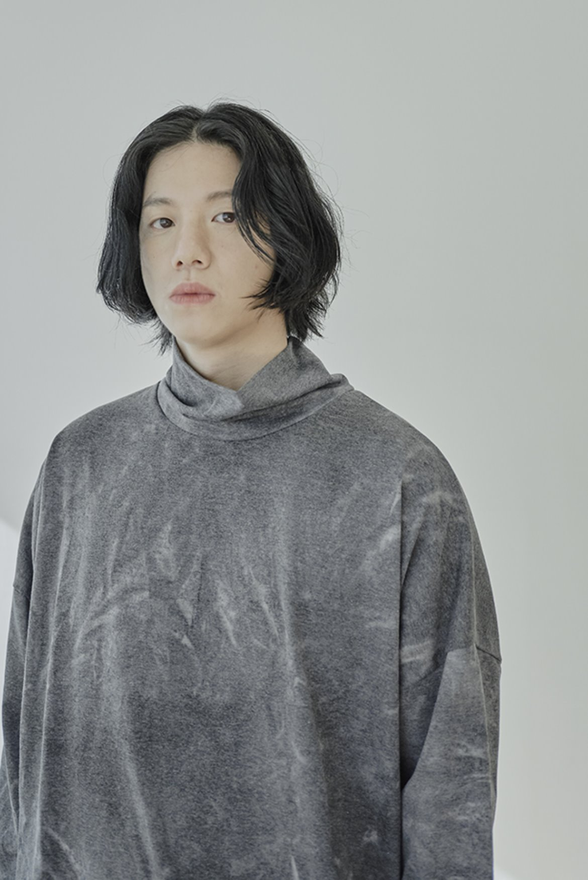 Water Washed High Neck String T-Shirts [Charcoal]