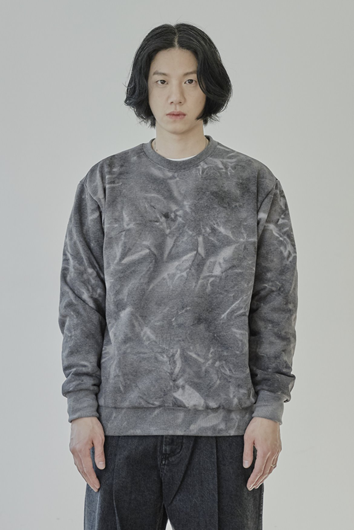 Water Washed Sweat Shirts [Charcoal]