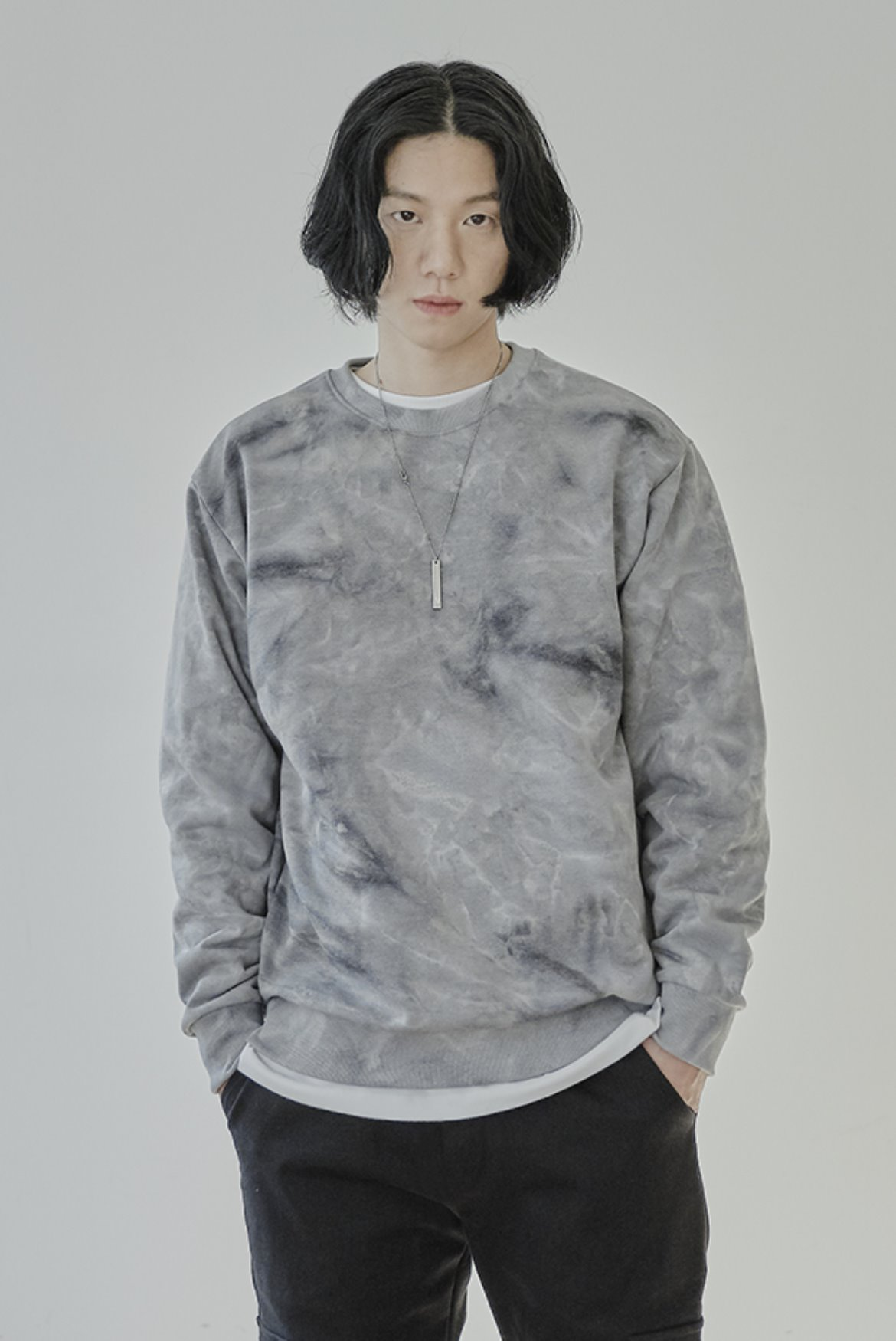Water Washed Sweat Shirts [Grey]