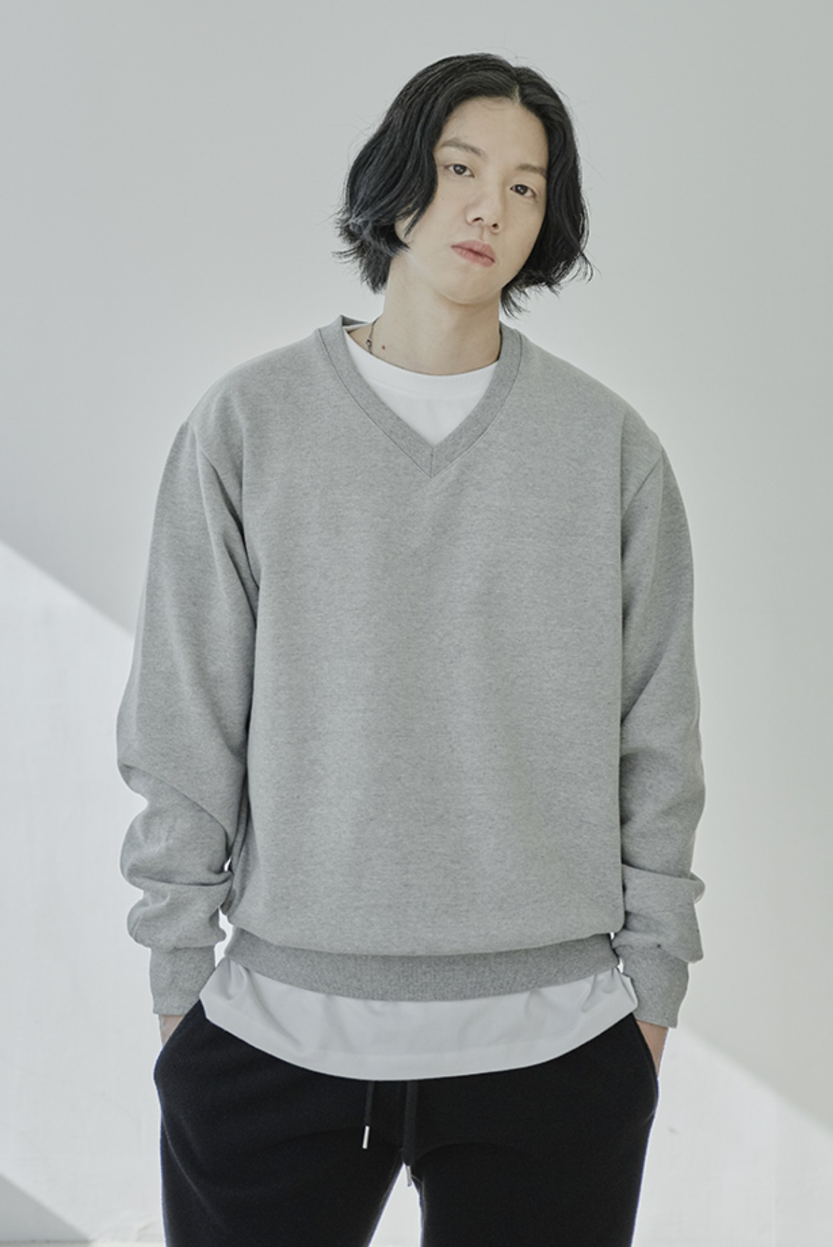 V-Neck Short Sweat Shirts [Grey]