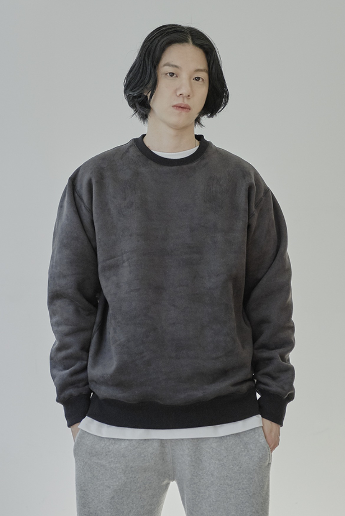Reversible Velvet Sweat Shirts [Black]