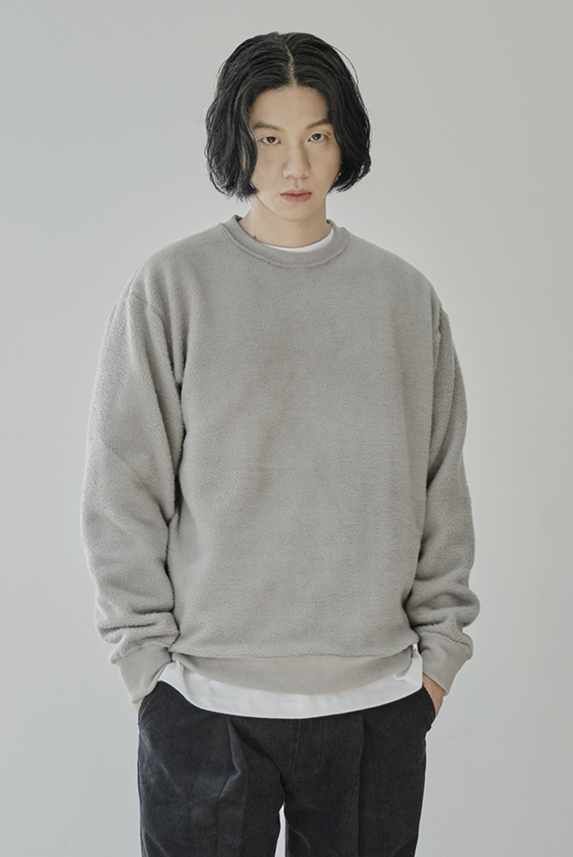 Reversible Velvet Sweat Shirts [Blue Grey]