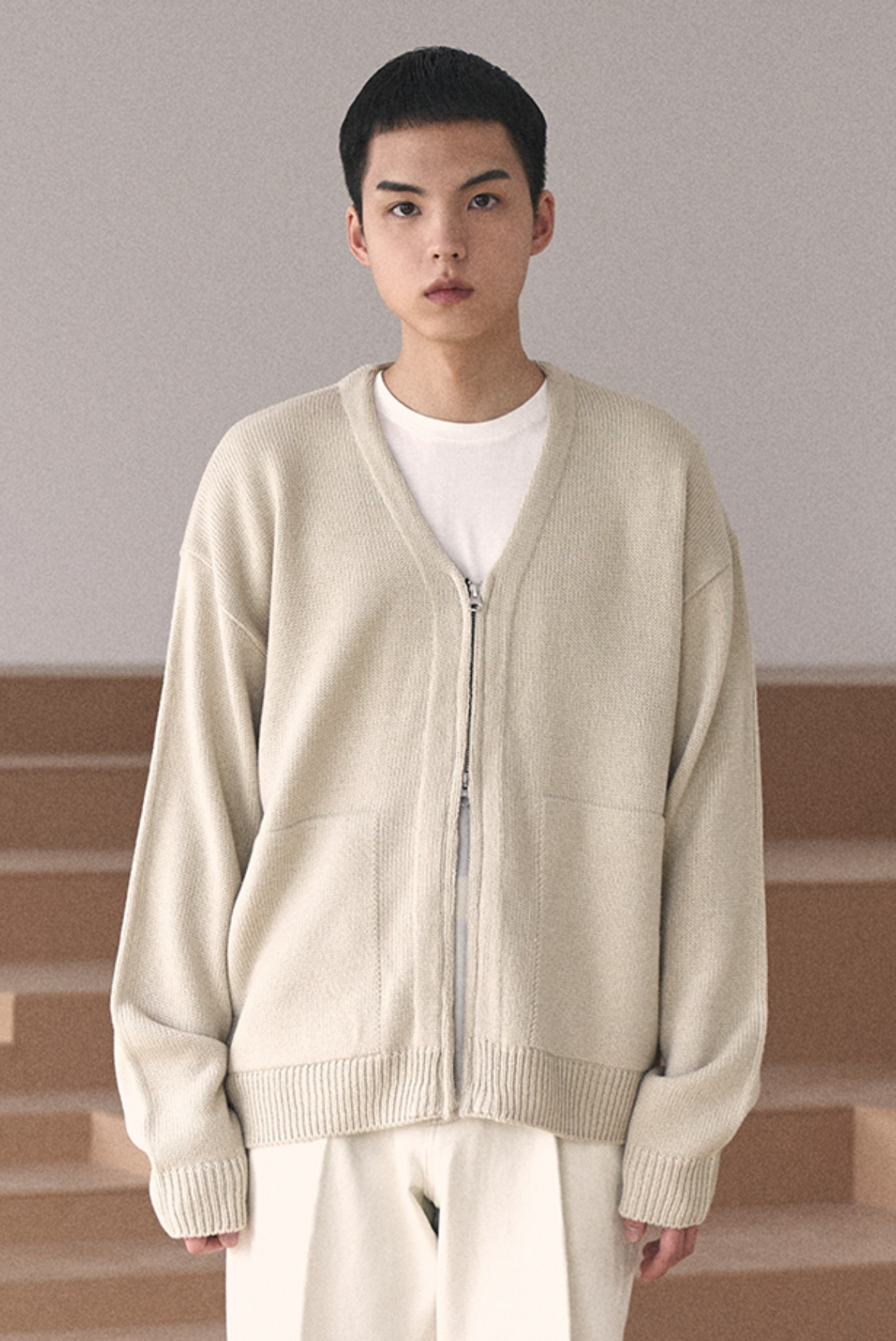(2월 27일 예약배송) 2Way Zip Knit Cardigan [Beige]