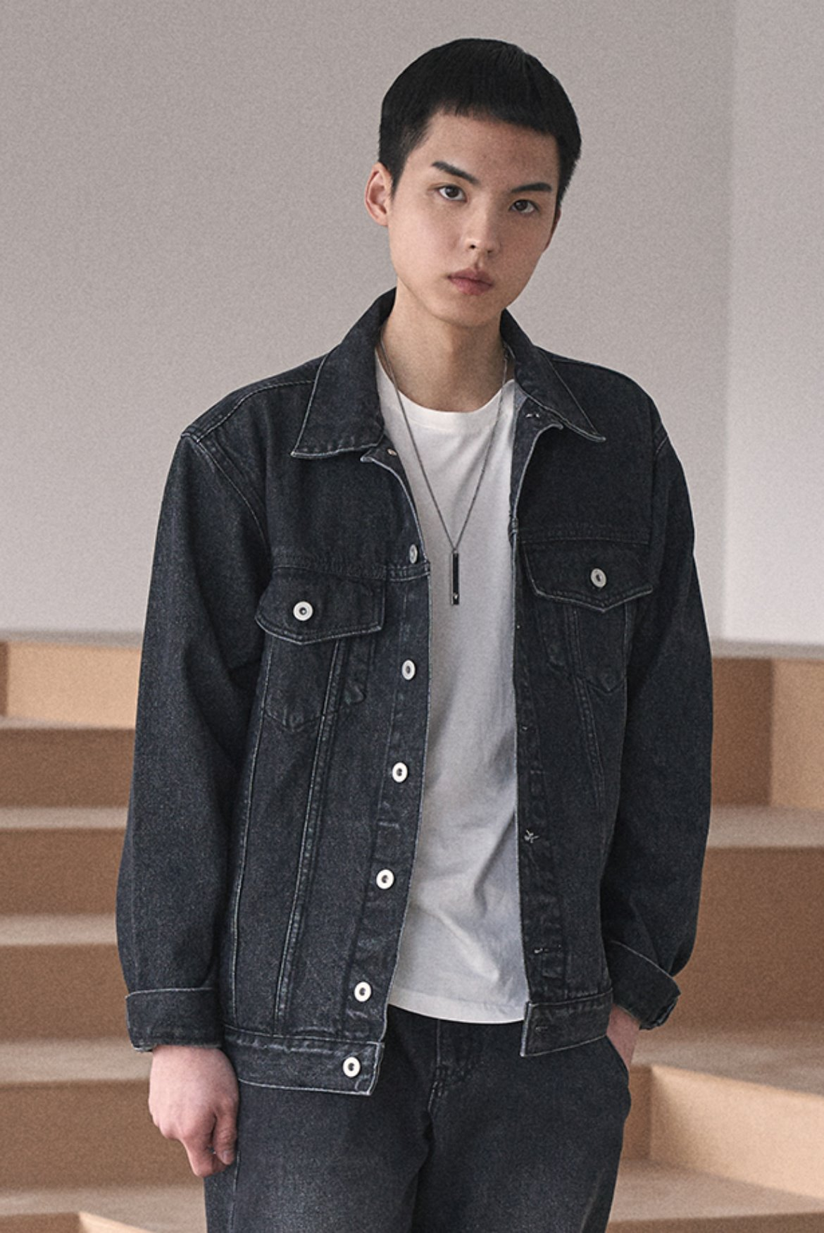 Oversized Denim Jacket [Black]