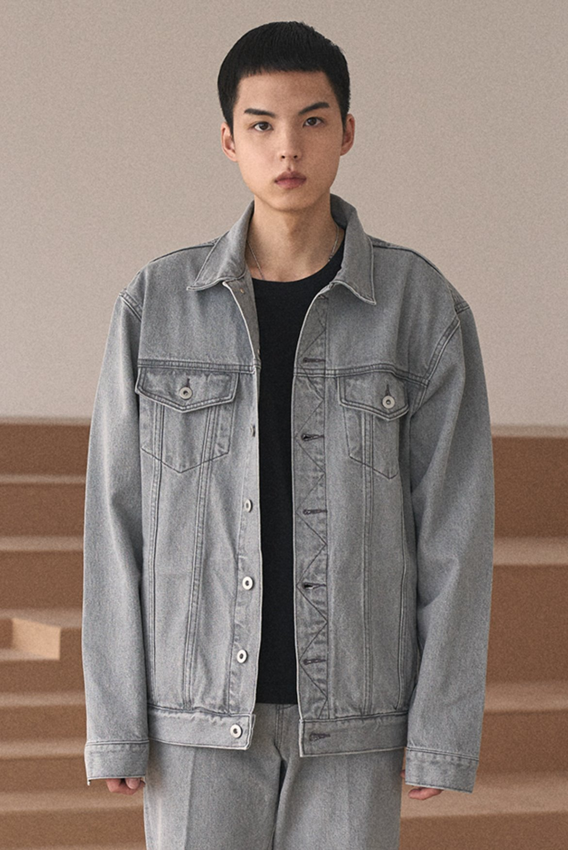 Oversized Denim Jacket [Grey]
