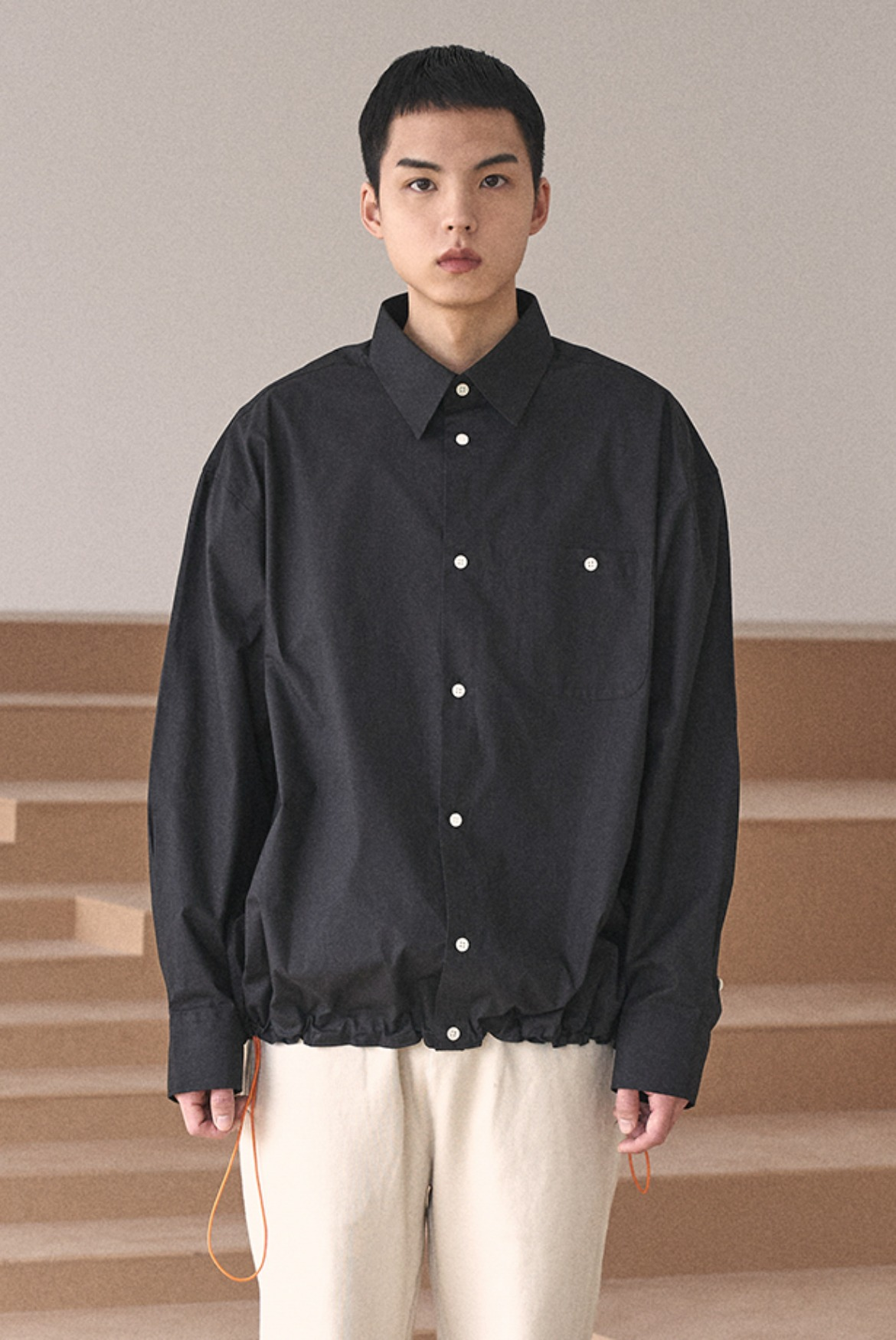 String Deep Tuck Shirts [Black]