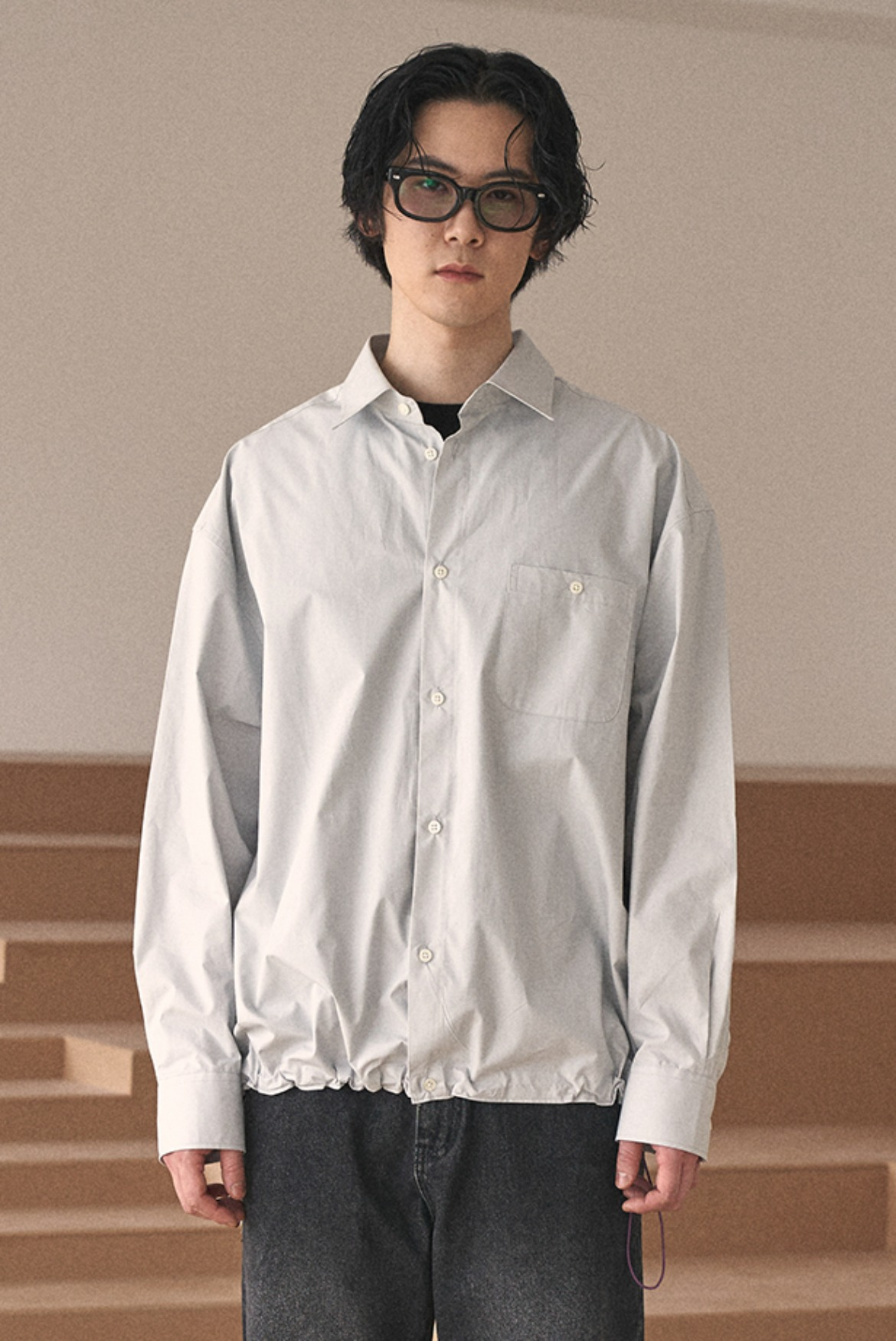 String Deep Tuck Shirts [Grey]