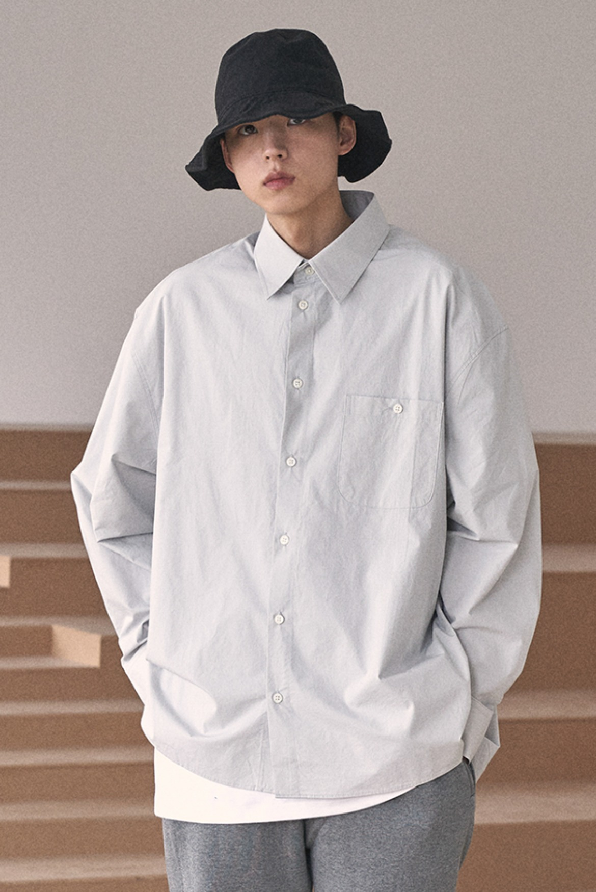 Deep Tuck Shirts [Light Grey]
