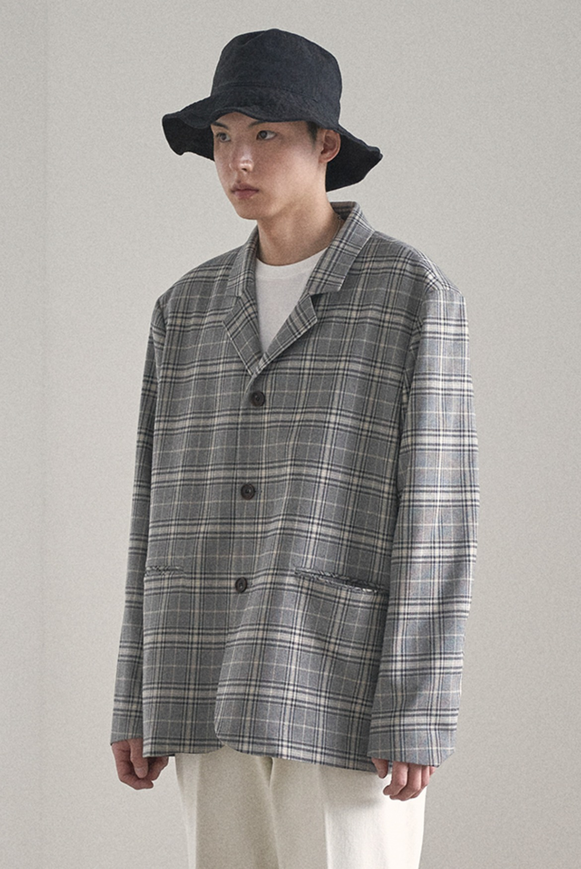 Three Button Check Jacket [Grey]