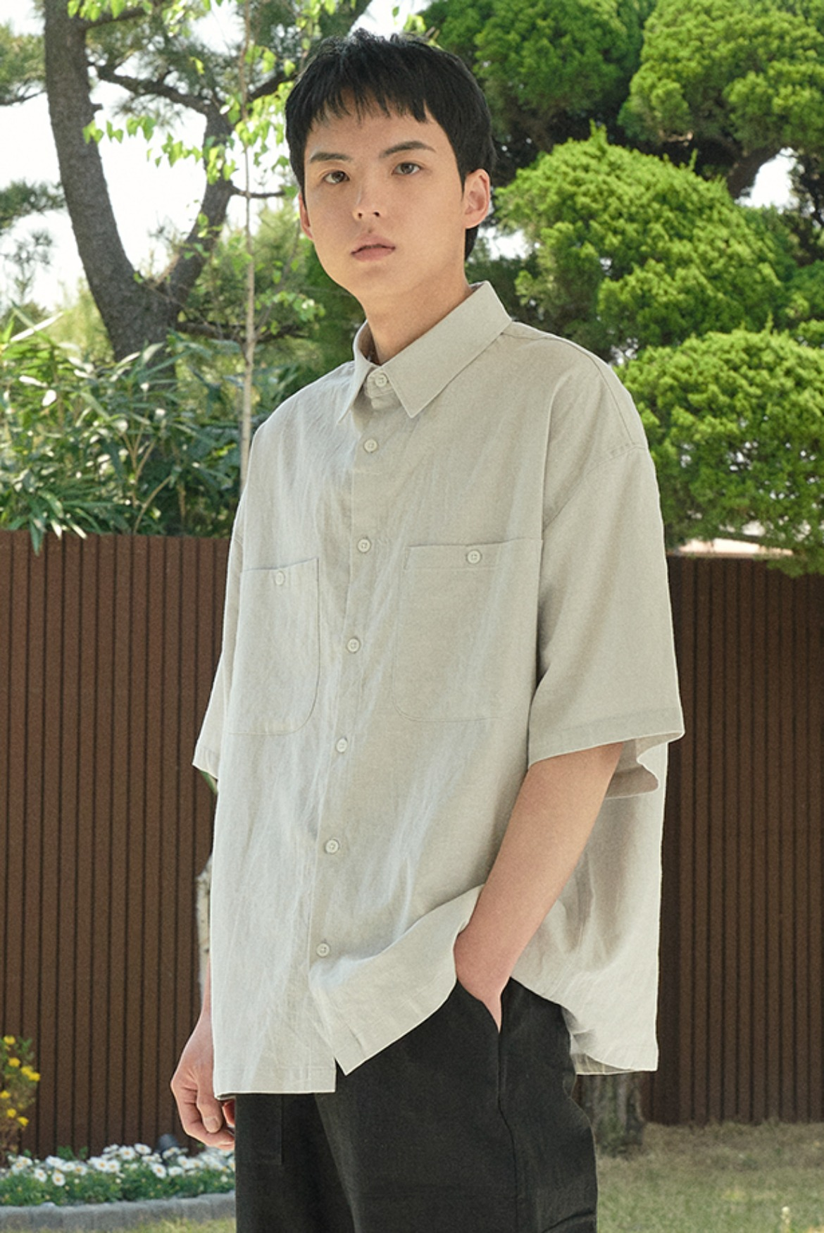 (6월 1일 예약배송) Solid Linen Box Shirts [Light Grey]