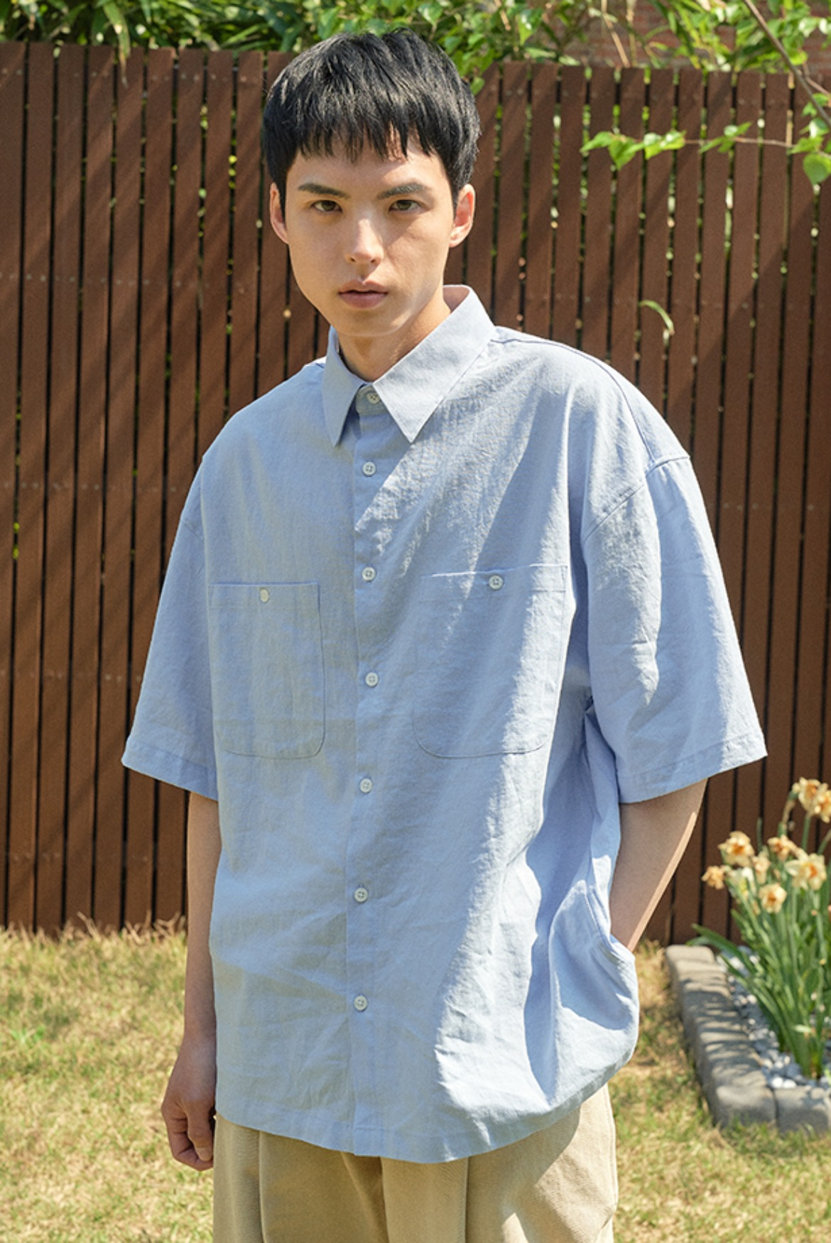 (6월 1일 예약배송) Solid Linen Box Shirts [Sky Blue]