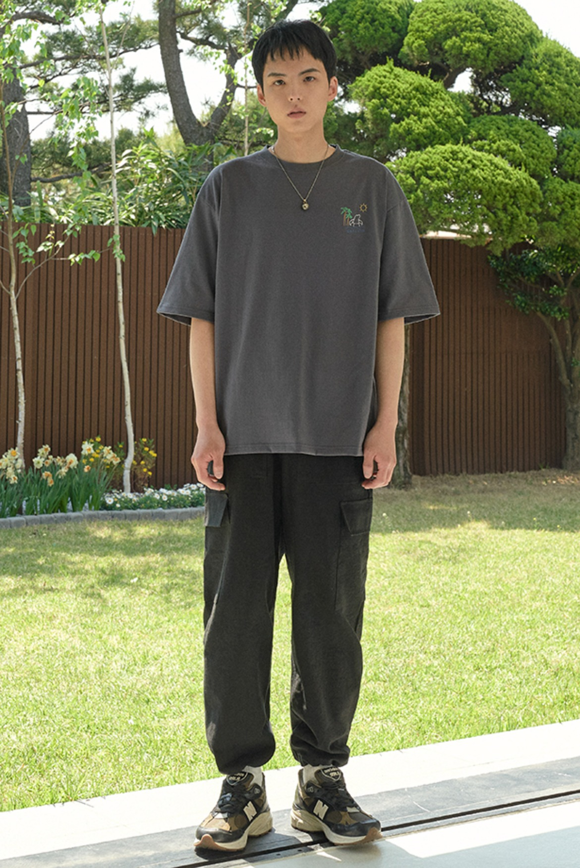 Linen String Cargo Pants [Black]
