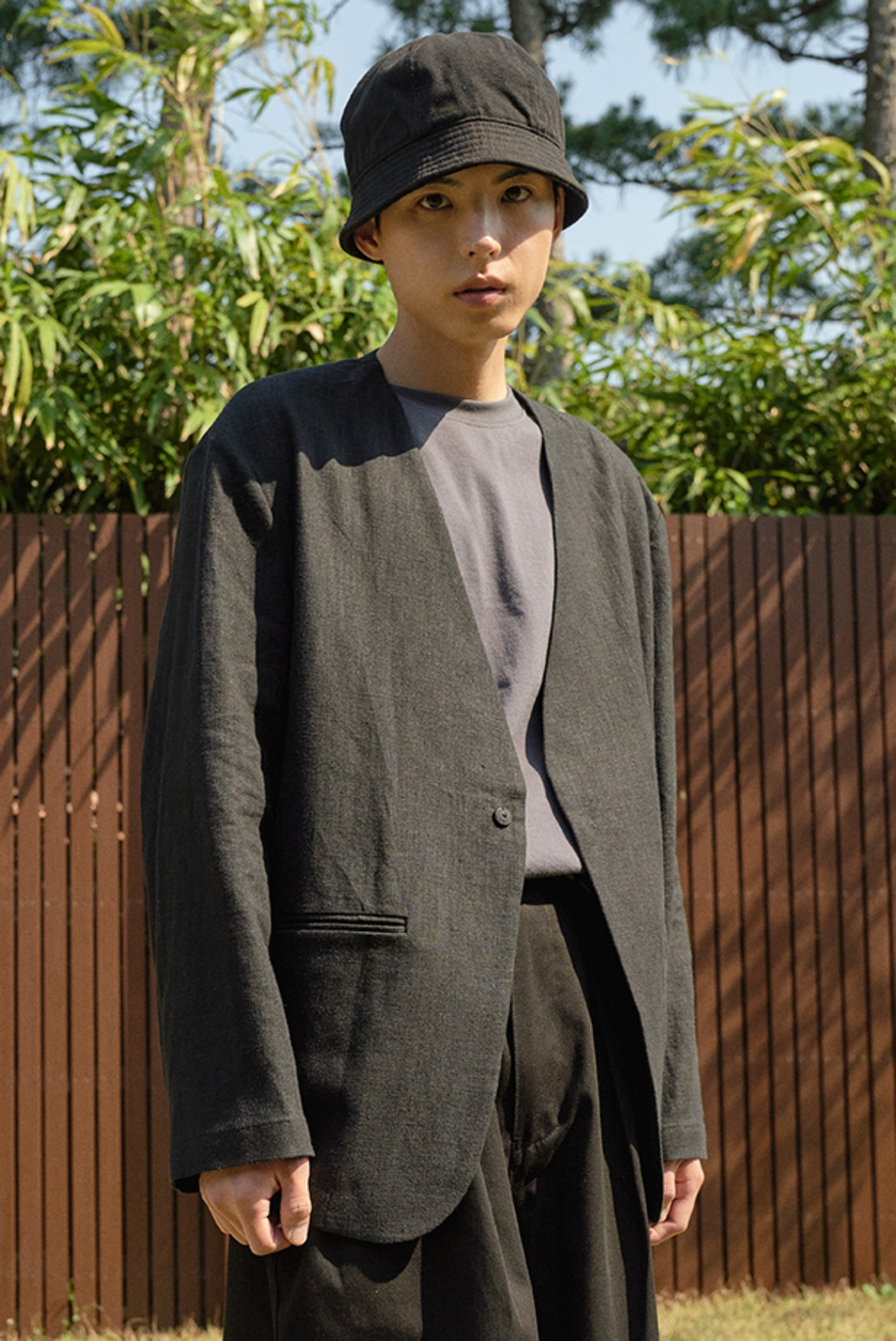 Linen Collarless Jacket [Black]